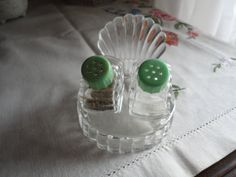 Mid Century Pressed Glass Sea Shell Salt And by TammysFindings, $10.00