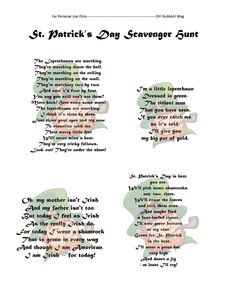 St. Patrick's Day Scavenger Hunt:: Printable:: Games & Activity Ideas:: oh! rubbish! blog