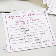 Involve guests in the wedding fun with these personalized marriage advice cards.