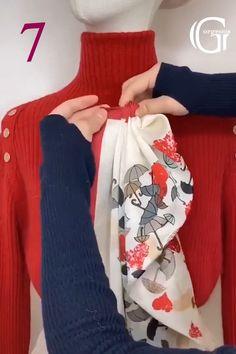Ways To Tie Scarves, Ways To Wear A Scarf, How To Wear Scarves, Silk Scarves, Scarf Wearing Styles, Scarf Styles, Scarf Knots, Diy Scarf, Diy Belt For Dresses