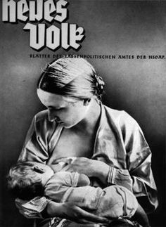 """The cover of a Nazi publication on race, """"Neues Volk"""" (New People), portrays motherhood with this ideal image of an """"Aryan"""" mother and child. Germany, April 1936."""