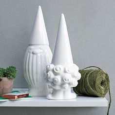 I love the white ceramic, plus they're gnomes- for your home! How cute! #westelm All gone though, knew I should have gotten them before.