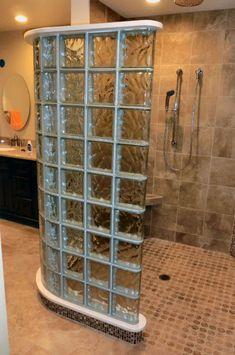 Glass Brick, Curved Glass, Steam Shower Enclosure, Glass Block Shower, Shower Makeover, Shower Remodel, Shower Doors, Shower Stalls, Bathroom Showers