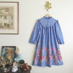 Vtg 70s Periwinkle Painterly Floral Nightgown • Ruffle Neckline Muumuu Tent Dress - M/L by loudmouthmarket on Etsy https://www.etsy.com/listing/464339782/vtg-70s-periwinkle-painterly-floral