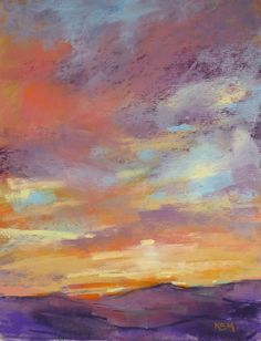 Items similar to SUNSET Beautiful sky purple mountains Original Pastel Painting Karen Margulis on Etsy Pastel Landscape, Landscape Art, Landscape Paintings, Pastel Artwork, Pastel Paintings, Horse Paintings, Ciel Pastel, Chalk Pastels, Soft Pastels