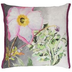 Designers Guild Madhuri Camellia Linen Pillow - rosa / branco