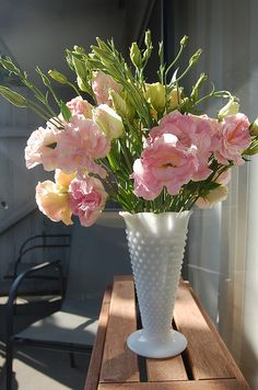 Milk Glass Vase ~ I have this exact one, it was my Mother's ~ I use it for fresh flowers, which always make me HAPPY.