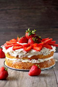 Strawberry Tres Leche Cake {mind-over-batter.com}