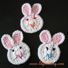 PATTERN – Crocheted Bunny Rabbit Applique