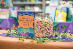 Let students guess how many colorful cereal pieces are packed into an oversized jar. Toolkit keyword: GUESSING GAME