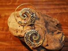Spiral Swirl Brass Earrings Fake Gauge gypsy by NELAJEWELRY