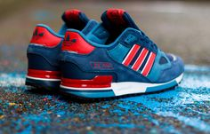 """adidas ZX 750 """"Collegiate Navy & Red"""" - EU Kicks: Sneaker Magazine Best Sneakers, Casual Sneakers, Casual Shoes, White Sneakers, New Shoes, Men's Shoes, Shoe Boots, Shoes Men, Adidas Zx"""