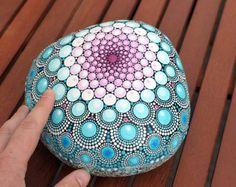 Summer dream hand-painted stone mandala by AnjaSonneborn on Etsy