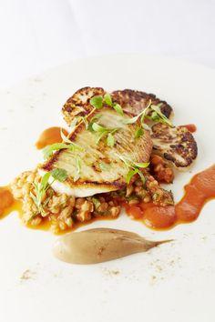Turbot fillet, pearl barley, burnt cauliflower, tomato and garam masala sauce by Will Holland