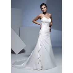 Sheath Sweetheart Sleeveless Empire Waist Beading Semi Cathedral - pictures, photos, images
