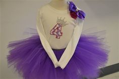 fourth birthday tutu set with a silver sequenced crown over the four. www.stylotutuboutique.com  #stylotutuboutique #purpletutu   #personalized #littlegirl #fourthbirthday