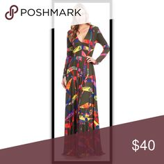 """Small thru Large Confetti Maxi Dress Long sleeve maxi dress with olive green background color. Material is polyester and spandex. Model is 5'9"""" and Dress can be easily altered for shorter heights. Brand new from online boutique Dresses Maxi"""