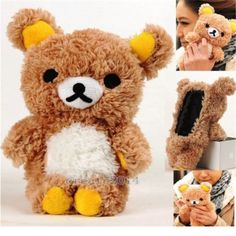 I'm not much at all for big cell phone cases, but this is just cute...for around the house that is. ;)   Lovely 3D Teddy Bear Plush Toy Doll Cover Case for Samsung Mobile Cell Phone | eBay