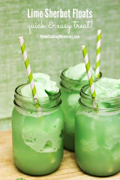 Quick & easy Lime Sherbet Floats are a kid-favorite treat that only needs 2 ingredients & 2 minutes!