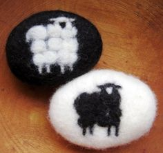 ying & yang felted soap :)