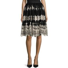 Alice + Olivia Justina Embroidered Tulle Skirt ($550) ❤ liked on Polyvore featuring skirts, multi colors, embroidered skirt, a-line skirt, knee length a line skirt, alice olivia skirt and multi colored skirt