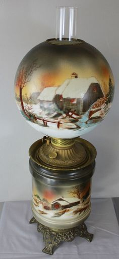 Antique Gone With The Wind Winter Mill Scene Kerosene Lamp Candle Shades, Table Lamp Shades, Glass Shades, Milk Glass Lamp, Art Deco Table Lamps, Kerosene Lamp, Antique Lamps, Gone With The Wind, Log Cabins