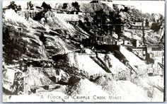 "Colorado Real Photo RPPC Postcard ""A FLOCK OF CRIPPLE CREEK MINES"" 1940s EKC"