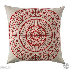 """IKEA RYSSBY Cushion Cover Red Beige Linen Reversible Pillow Cover 20 X 20"""""""