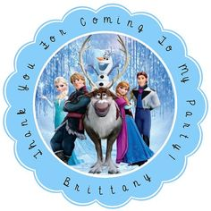 Frozen Personalized Stickers - Party Favors - Birthday Stickers - Gift Tag - Choice Of Size And Color  (232)