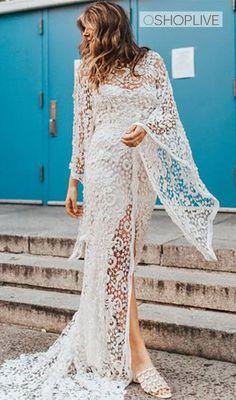 Backless Maxi Dresses, Maxi Dress Wedding, White Maxi Dresses, Floral Maxi Dress, Beach Dresses, Sun Dresses, Wedding Gowns, Evening Dresses With Sleeves, Mini Dress With Sleeves