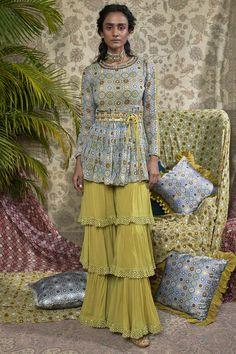 Buy Printed peplum kurta sharara set by Ridhima Bhasin at Aza Fashions Desi Wedding Dresses, Indian Wedding Outfits, Indian Outfits, Pakistani Fashion Casual, Indian Fashion, Men Fashion, Pakistani Dresses, Indian Dresses, Pakistani Sharara
