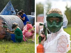 OMG I WANT TO DO THIS !!!! Go to a thrift store and find the worst bridesmaids dress you can find. Then play paintball for a combined bachelorette and bachelor party (after a few drinks with the boys so it doesn't hurt so much). So doing this! **This could also work with laser tag...