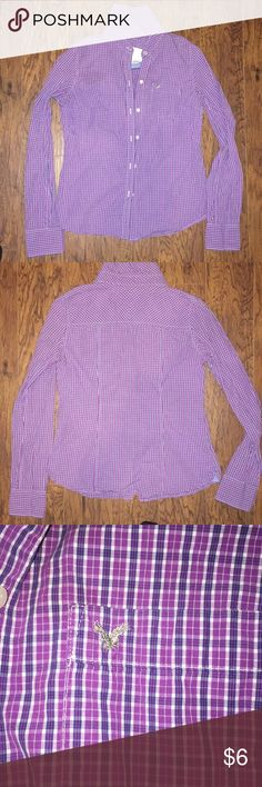 American Eagle Purple Shirt Women's Size 4 American Eagle Women's Purple Shirt Size 4 Short Has Extra Buttons Gently Worn Smoke Free Home American Eagle Outfitters Tops Button Down Shirts