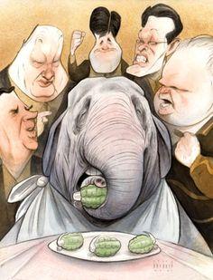 On the long detour to Crazytown with the GOP. Illustration: Steve Brodner via Mother Jones.