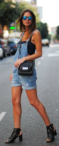 Street style overalls denim... I just want the overalls honestly!!! :D