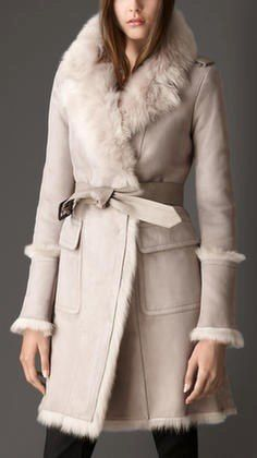 burberry revere collar shearling coat: Lucky Magazine