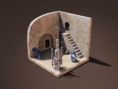 On a corner of Mos Eisley designed by Jivaldi. Connect with them on Dribbble; Star Wars Figurines, Star Wars Toys, Star Wars Art, Star Wars Action Figures, Custom Action Figures, Star Wars Furniture, Star Wars Imperial Assault, Starwars, Star Wars Models