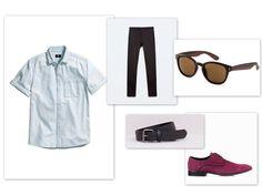 Elegancki facet wie, że do czarnych spodni i błękitnej koszuli może założyć świetne buty w kolorze fuksji. Kolorowe buty wizytowe już od dawna są trendy! Zestaw: Koszula - H&M Spodnie - Zara Buty - #Conhpol Okulary - H&M Pasek - Pull&Bear