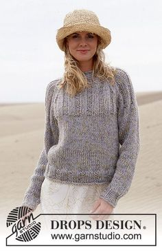 Trish a Drops Designtól. DROPS pulóver Paris és Cotton Viscose fonalból. Ingyenesen elérheto minta a DROPS Designtól.