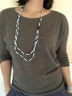 C5 blue paper bead necklace with black wooden beads by Twerwaneho, $10.00