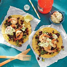 Grilled Shrimp Tostadas with Lime | CookingLight.com #myplate #protein #fruit #dairy