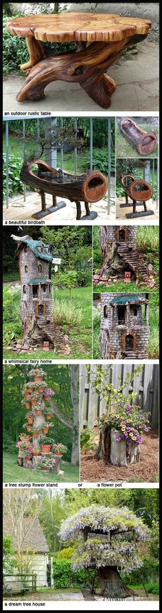 Easy Woodworking Projects some ideas for what to do with that tree stump Woodworking Projects That Sell, Woodworking Techniques, Diy Wood Projects, Diy Woodworking, Intarsia Woodworking, Woodworking Furniture, Garden Projects, Garden Ideas, Into The Woods