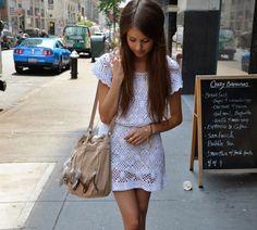 Eyelet dress & long long hair <3