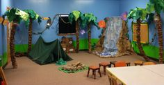 My finished Jungle Jaunt 2013 room Jungle Theme Crafts, Jungle Theme Decorations, Vbs Themes, Safari Theme, Jungle Safari, Jungle Jaunt, Bible School Crafts, Vbs Crafts, Paper Tree