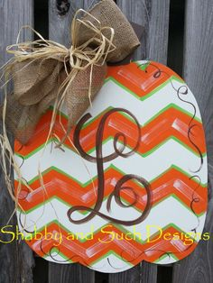"Chevron Pumpkin Door Hanger Handpainted Wood Includes Personalization X-LARGE Size 28"" !!"