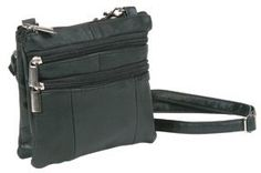 """Black Lambskin Leather Double Compartments Cross-body Handbag Belt Purse in One Roma Costume. $9.99. 6"""" wide; x 6"""" tall - mini bag. Belt Loops on Back; Two main compartmernts with two side pockets. leather. Zip Closure; coordinating nylon lining. Genuine Leather w/ pvc trim. Long Crossbody Strap with silver hardware and swivel clasps"""