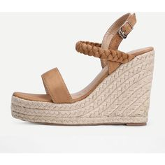 SheIn(sheinside) Woven Detail Strappy Wedge Sandals (625 ARS) ❤ liked on Polyvore featuring shoes, sandals, brown, strappy sandals, strappy wedge sandals, brown wedge sandals, strap sandals and platform espadrille sandals