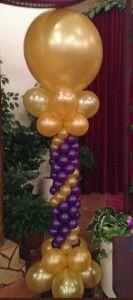 Balloon Column - Purple/Gold - school graduation