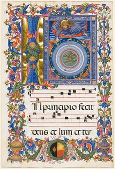 Leaf from an Antiphoner, Creation of heaven and earth. Siena, Italy, 1460-1477 Pellegrino di Mariano Rossini (act. 1449 - d.1492).
