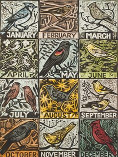 "Month by Month, 32"" x 24"" color woodcut by Kent Ambler"